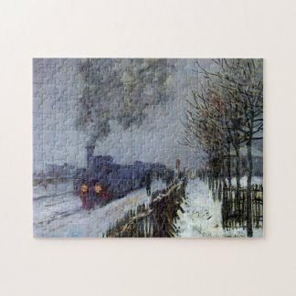Tren en bella arte de Monet de la nieve Puzzle