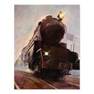 """Tren en blanco de la tarde brumosa de Annoucement Invitación 4.25"""" X 5.5"""""""