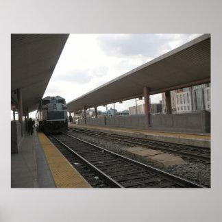Tren en el poster céntrico de Los Ángeles