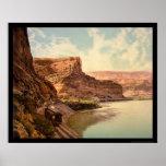 Tren en las paredes y el río Colorado 1900 de la c Impresiones