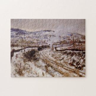 Tren en nieve en la bella arte de Argenteuil Monet Puzzles