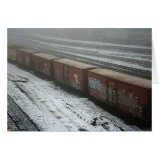 Tren en nieve tarjeta de felicitación