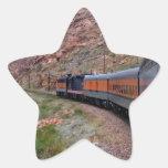 Tren en pegatina de la estrella del fondo del