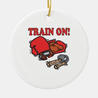 Tren encendido ornamento de navidad