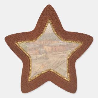 Tren - entrar en la yarda del tren pegatina en forma de estrella