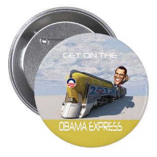 Tren expreso de Obama Pin Redondo De 3 Pulgadas