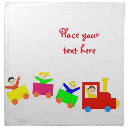 Tren feliz de los niños servilletas de papel