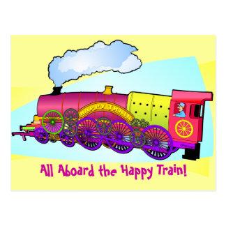Tren feliz tarjeta postal