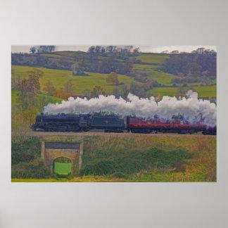 Tren ferroviario del vapor para el arte I de Póster