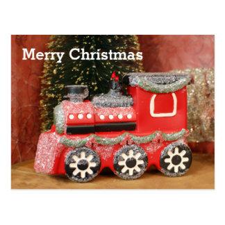 Tren festivo del día de fiesta del navidad postales