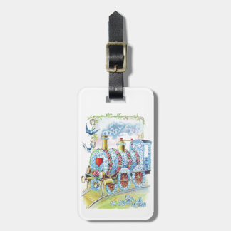 Tren floral del vintage de la tarjeta del día de etiquetas de equipaje