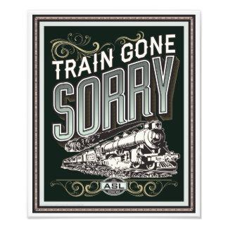 Tren ido triste. impresión de la foto cojinete