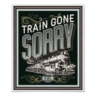 Tren ido triste. un poster del vintage del idioma póster
