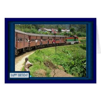 Tren indio de la montaña tarjeta de felicitación