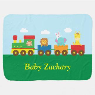 Tren lindo colorido de los animales para los bebés mantita para bebé