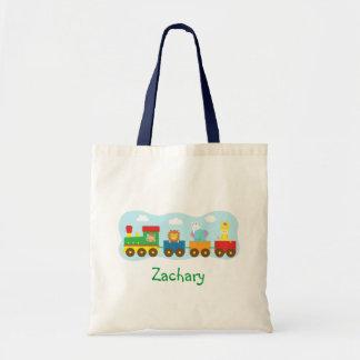 Tren lindo colorido de los animales para los niños bolsa tela barata
