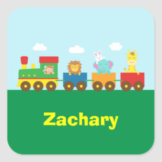 Tren lindo colorido de los animales para los niños pegatina cuadrada