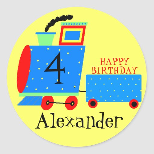 Tren lindo de la fiesta de cumpleaños con la edad pegatina redonda