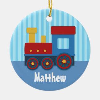 Tren lindo y colorido para los muchachos adorno navideño redondo de cerámica