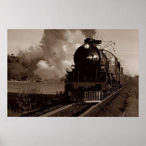 Tren locomotor del ferrocarril en la impresión de  póster