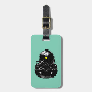 Tren locomotor del motor de vapor etiqueta de maleta