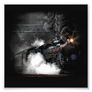 Tren locomotor del negro del motor de vapor del fotografía