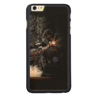 Tren locomotor del negro del motor de vapor del funda de arce carved® para iPhone 6 plus slim