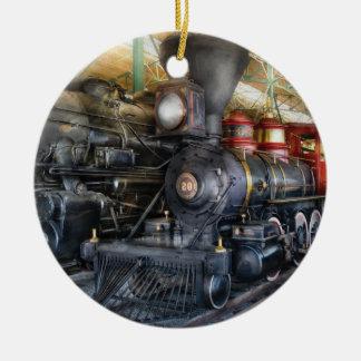 Tren - locomotoras de vapor adorno navideño redondo de cerámica