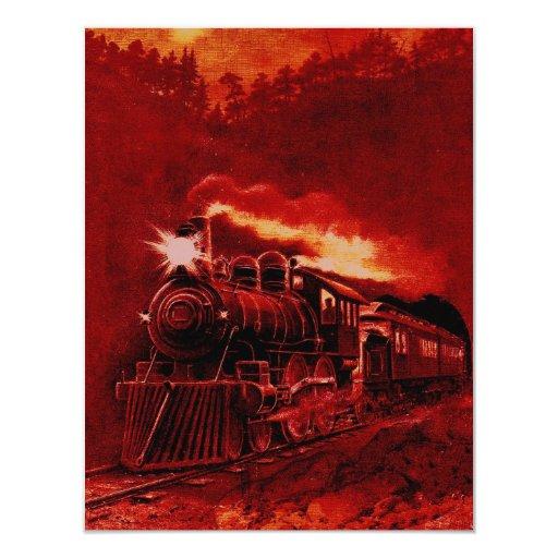 Tren mágico del Victorian del motor de vapor Invitación 10,8 X 13,9 Cm