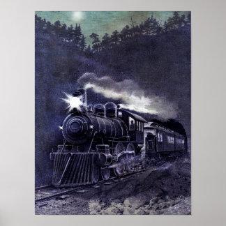 Tren mágico del Victorian del motor de vapor Poster