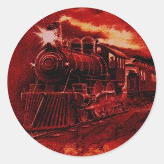 Tren mágico del Victorian del motor de vapor Pegatina Redonda