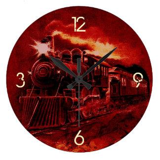 Tren mágico del Victorian del motor de vapor Reloj Redondo Grande
