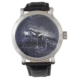 Tren mágico del Victorian del motor de vapor Relojes De Pulsera