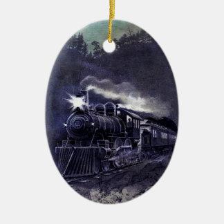 Tren mágico Ornamnent del Victorian del motor de Adorno Navideño Ovalado De Cerámica