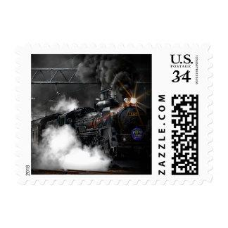 Tren negro sello postal