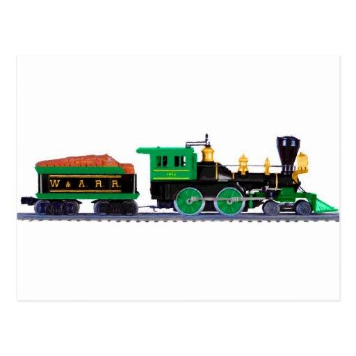 Tren negro y verde postal
