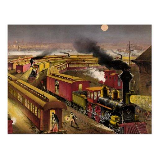 Tren nocturno de la CAMISETA Postal