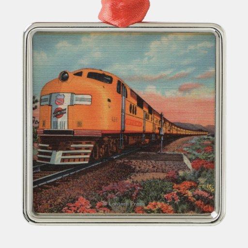 Tren pacífico de la unión, ciudad de L.A. Adorno Navideño Cuadrado De Metal