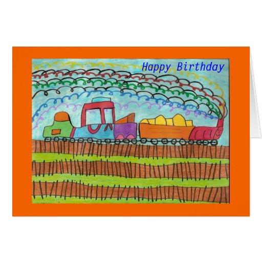 Tren para un feliz cumpleaños tarjeta de felicitación