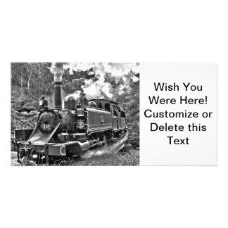 Tren pasado de moda del vapor del indicador tarjeta personal con foto