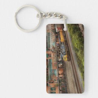 Tren - Pittsburg, PA - cuadrado de la estación Llavero Rectangular Acrílico A Doble Cara