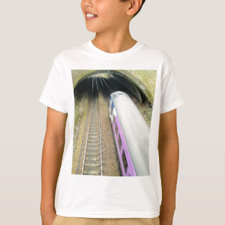 Tren púrpura, pistas ferroviarias, túnel, viajando remera