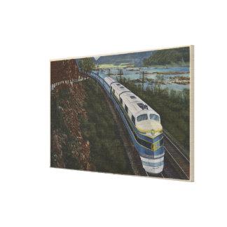 Tren que aerodinamiza a través de Potomac Lona Estirada Galerias