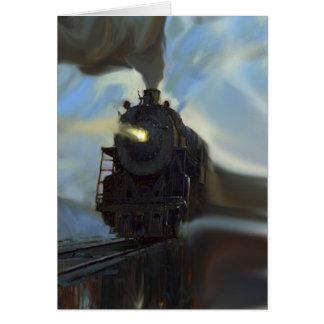 Tren reflejado tarjeta de felicitación
