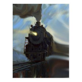 Tren reflejado tarjeta postal