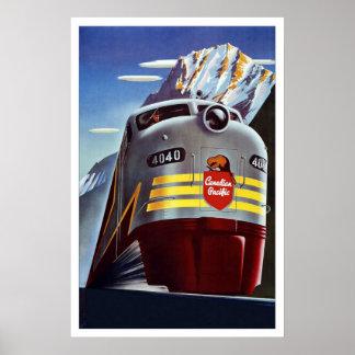 Tren retro Canadá del viaje de la imagen del vinta Posters