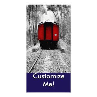 Tren rojo pasado de moda del vapor tarjeta fotografica