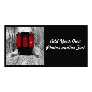 Tren rojo pasado de moda del vapor tarjeta fotográfica personalizada