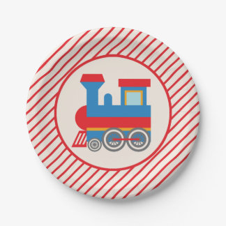 Tren rojo y azul retro plato de papel 17,78 cm