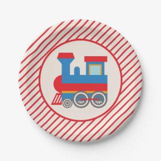 Tren rojo y azul retro platos de papel